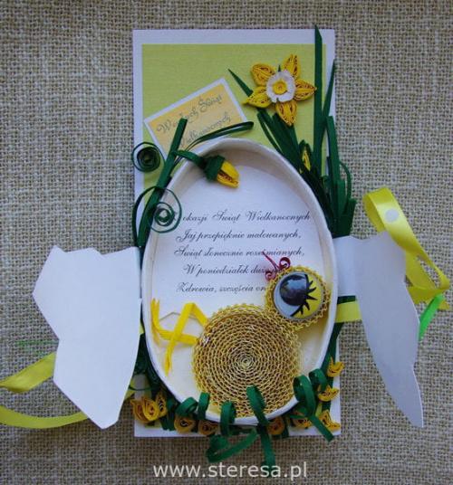 kartka wielkanocna #easter #egg #KartkaQuillingowa #KartkiWielkanocne #quilling #RęcznieRobiona #wielkanoc