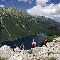 Tatry- widok na Morskie Oko od strony Czarnego Stawu #góry #krzyż #MorskieOko #Tatry