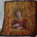 obrazek-ikona wykonane techniką decoupage #anioł #ikona #madonna #NaDrewnie #obrazek #steresa