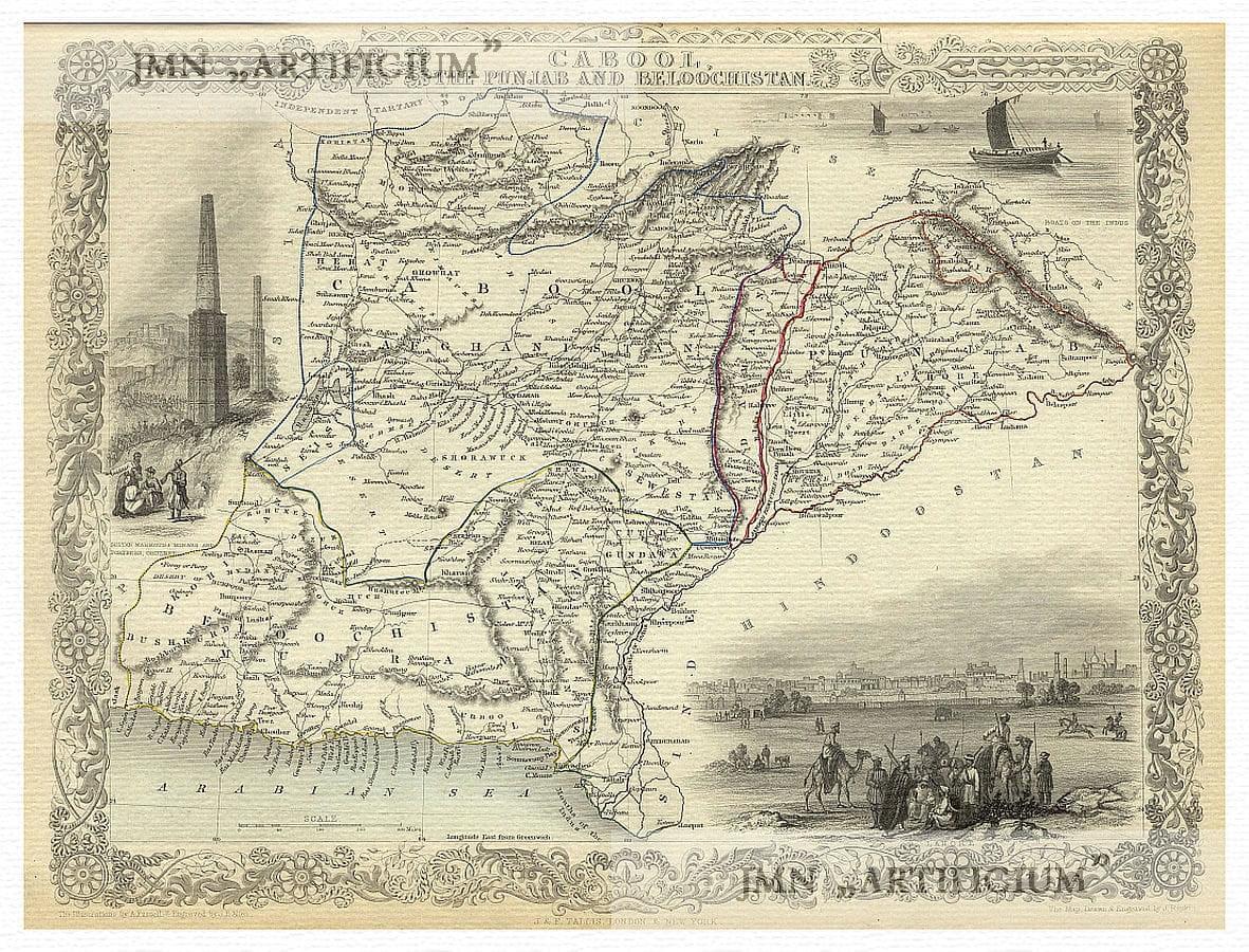 Details about Kabul Afghanistan Punjab Pakistan Balochistan illustrated map  Tallis ca 1851