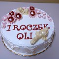 Torcik na 1 urodziny Oli #roczek #TotyUrodzinowy #tort #OlaImie