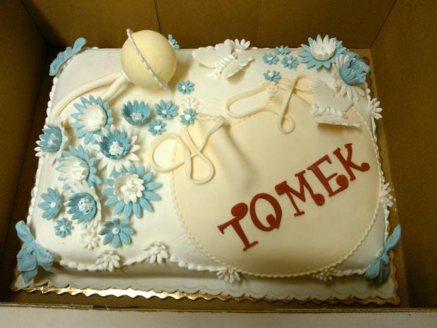 chrzest święty Tomka #chrzciny #tomek #grzechotka #tort