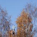 z wczorajszego spaceru (09.11.2011) #las #park #jesień #kościół #krzyż #drzewa #brzozy