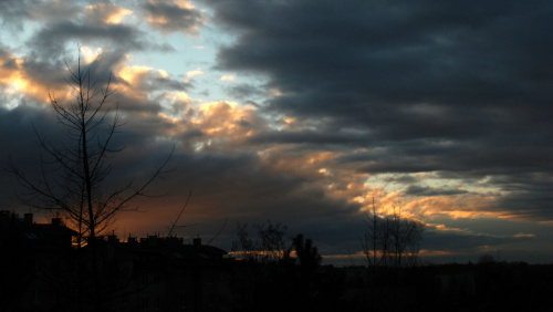 Zachód słońca nad Krakowem 27 grudnia 2012