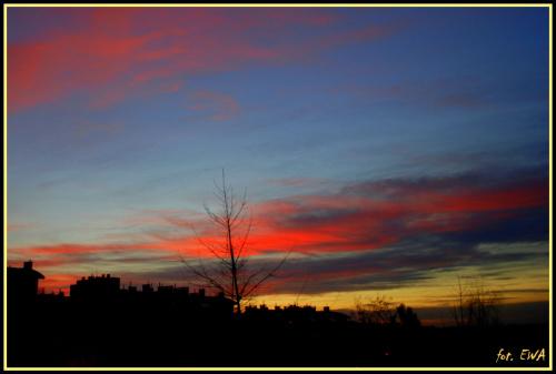 Zachód słońca nad Krakowem 31 grudnia 2012 roku
