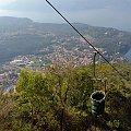 Widok z kolejki linowej na jezioro Maggiore #KolejkaLinowa #Kolejka #Wyciąg #SassoDelFerro #Włochy #góry