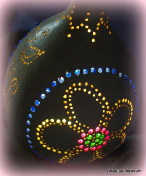 kolejna lampa z tykwy wykonana moimi łapkami. #LampaZTykwy #tykwa #tykwy